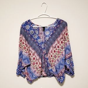 3/$30 • Forever 21 • pink & baby blue boho blouse